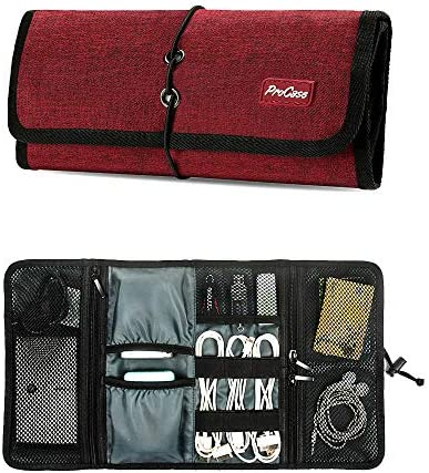 ProCase Accessories Bag Organizer, Universal Electronics Travel Gadgets Carrying Case Pouch for Charger USB Cables SD Memory Cards Earphone Flash Hard Drive –Black