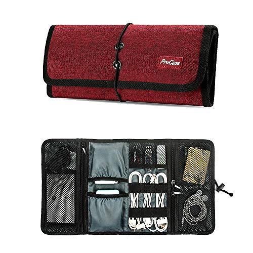 ProCase Travel Gear Organizer Elektronik Zubehör Tasche, Kleine Gadget Tragetasche Aufbewahrungstasche Tasche für Ladegerät USB Kabel SD Speicherkarten Kopfhörer Flash Hard Drive -Rot