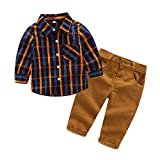 Kimocat 2Pcs Baby Boys Clothes Long Sleeve Plaid Shirt+Pants Overalls Clothing Set (6-12month(80#))