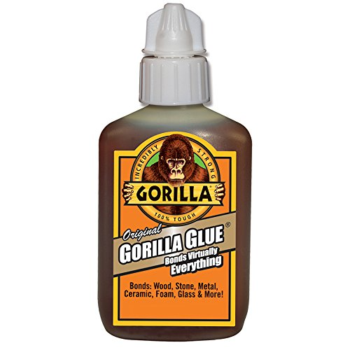 Gorilla Original Waterproof Polyurethane Glue, 2 ounce Bottle, Brown, (Pack of 1)