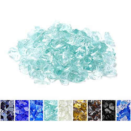 Mr. Fireglass Crushed Fire Glass for Natural or Propane Fire Pit Fireplace & Landscaping,10 lb High Luster Light Sea Blue