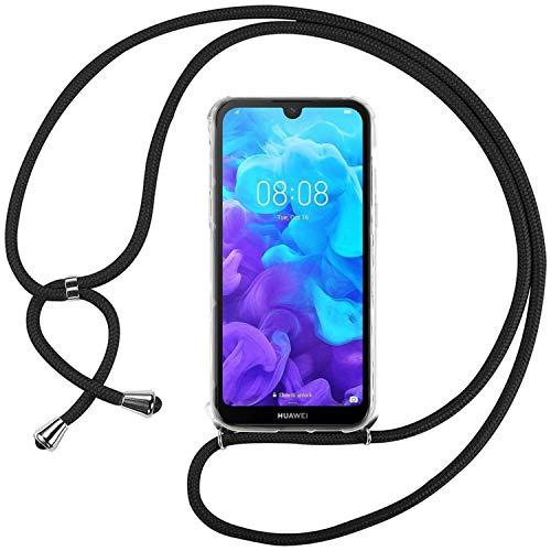 Ingen Funda con Cuerda para Huawei Y5 2019 - Carcasa Transparente TPU Suave Silicona Case con Colgante - Negro