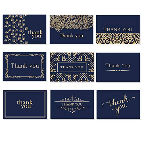HAPPEEY Beautiful Thank You Cards With Envelopes - Thank You Notes - Blank Thank You Notes In Gold Foil Embossed Lettering - Perfect for Business, - Navy Blue & Gold 36 Pack