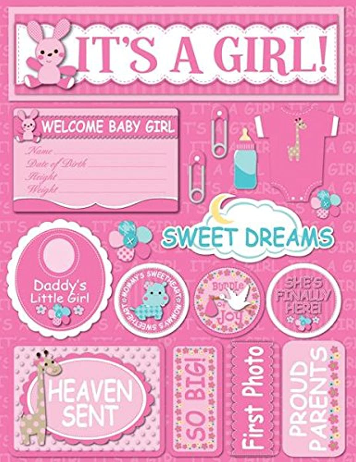 Signature Series Dimensional Cardstock StickersIt's A Girl
