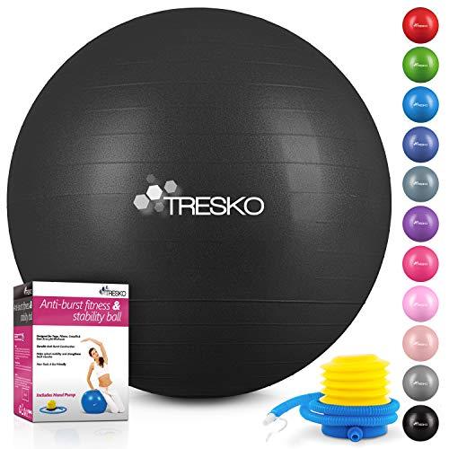 TRESKO® Anti-Burst Gymnastikball 55cm 65cm 75cm 85cm | Sitzball | Yogaball | 300 kg | mit Luftpumpe (Schwarz, 65cm (geeignet für 155-175cm))