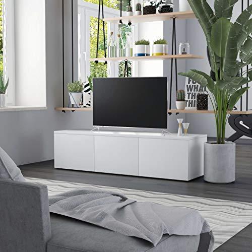 vidaXL Mueble para TV Salón Comedor Mesa Televisión Televisor Equipo de Música Armario Bajo Almacenaje Soporte de Aglomerado Blanco 120x34x30cm