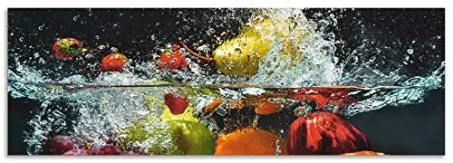 Artland Spritzschutz Küche aus Alu für Herd Spüle 150x50 cm Küchenrückwand mit Motiv Essen Obst Früchte unter Wasser Erbeeren Trauben Orange S6JP