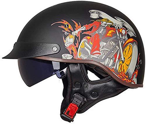 Casco De Moto,Retro Medio Cascos Con Gafas De Protección Casco Moto De Cara Abierta Retro Motocicleta Jet Casco,DOT Homologado Four Seasons Universal Casco- 4,L=57-58cm