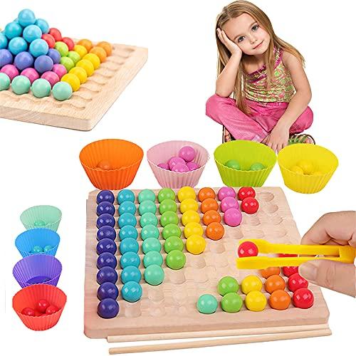 Holz Clip Beads Brettspiel, Holz Clip Perlen Regenbogen Passenden Spielzeug, Holz Go Spiele Set Dots Shuttle Beads Brettspiele, Kinder HäNde Gehirn Training, Puzzle Brettspiel