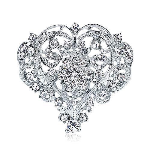 Ramillete de boda Gran corazón de melocotón Ramillete de diamantes de imitación blanco para mujer Broche de amor con diamantes de imitación para mujer (A)