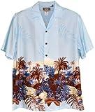 Men's Garden of Eden Bottom Band Hawaiian Aloha Rayon Shirt in Blue - XL