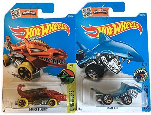 Hot Wheels 2016 Dino Riders Tiburón Bite & Dragon Blaster 2-Car Variant Set