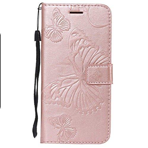 DENDICO Cover Galaxy A8 2018, Pelle Portafoglio Custodia per Samsung Galaxy A8 2018 Custodia a Libro con Funzione di appoggio e Porta Carte di cRossoito - Oro Rosa