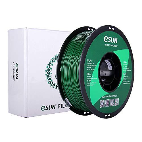 eSUN Filamento PLA+ 1.75mm, Filamento PLA Plus para Impresora 3D, Precisión Dimensional +/- 0.03mm, 1KG (2.2 LBS) Carrete Filamento de Impresión 3D, Verde Oscuro