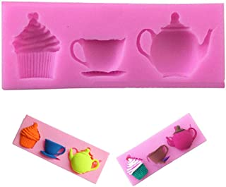 EORTA Silicone Paste Cake Fondant Mould Teapot Cup Cup Cupcake Pattern Decorating Baking Soap Mold for Birthday Christmas ...