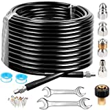 Sewer Jetter Kit for Pressure Washer, High Pressure Washer Hose 100FT, 5800PSI Drain Jetter Cleaner Hose with Rotating Button and Mushroom Nose Sewer Nozzle, Spanner Waterproof Tape Pin