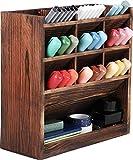 MaxGear Rustic Wood Desk Organizer, Pen Organizer for Desk, Multi-Functional Pencil Organizer, Wooden Pen Holder, Desk Organization for Office Desk Accessories, Art Supply Storage for Office & Home