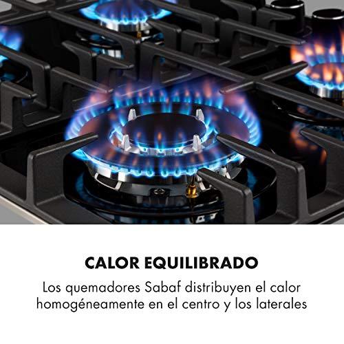 Klarstein Ignito - Placa de cocina a gas, Autárquico, Quemador Sabaf, Gas natural/propano, Válvula de seguridad, Autoapagado, Vitrocerámica, Rejillas de hierro fundido, 60 cm, 4 fuegos, Negro