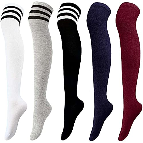 jiabushu shop Aeco 5 Paar Overknee Socken Kniestrümpfe Hohe Oberschenkel Stiefel Strümpfe Frauen...