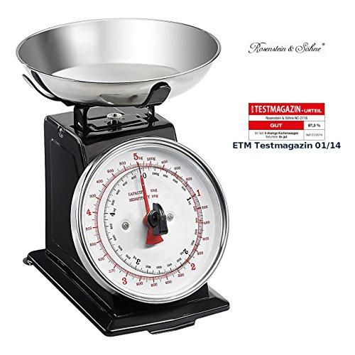 Rosenstein & Söhne Mechanische Küchenwaage: Analoge Metall Retro-Küchenwaage bis 5 kg mit Tara-Funktion (Mechanische Waage)