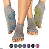 Gaiam Grippy Toeless Yoga Socks for Extra Grip in Standard or Hot Yoga, Barre, Pilates, Ballet or at...