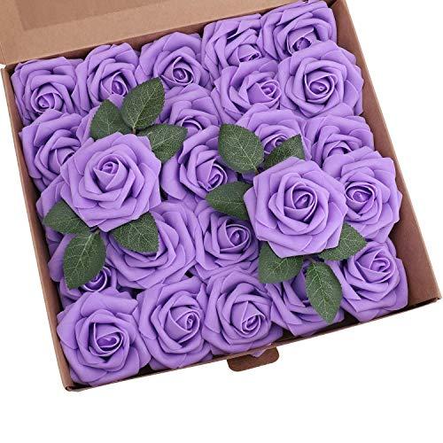 Ruiuzioong Künstliche 25 Stück Rosen Blumen Schaumrosen Foamrosen Kunstblumen Rosenköpfe Gefälschte Kunstrose Rose für Hochzeit Blumensträuße Braut Zuhause Dekoration (Lila, 25 Stück)