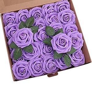 Ruiuzi Rosa Artificial Flor 25PCS Rosa Falsa Espuma Mirada Real con Hoja y Vástago Ajustable para Bricolaje Ramos de Boda Decoraciones para el Hogar Nupciales (Azul, 25pcs)