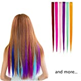 Highlight Hair Extensions Multi-Colors Party Highlight Clip on in Hair Salon Supply Straight Wigs For Women 55 cm/ 21inch (12 pcs straight)