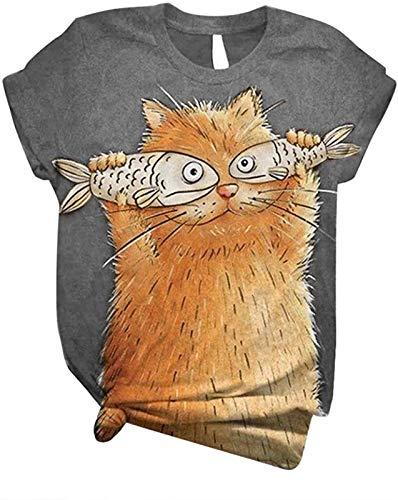 Camiseta cómoda para Mangas Cortas para Mujer, Novela Divertida, impresión de Animales, Camisa de Manga Corta, Cuello Redondo, Gato y patrón de Pescado, Top Suelto, Divertido, Gato, Jersey de Verano