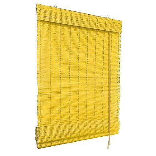 Victoria M. Klemmfix bamboe rolgordijn vouwgordijn 80 x 220 cm in bamboe kleur, bescherming tegen inkijk rolgordijn zonder boren voor ramen en deuren