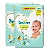 Pampers Lot de 2 couches géantes de protection pour bébé Taille 3 spécialement conçues pour la peau délicate de votre bébé.