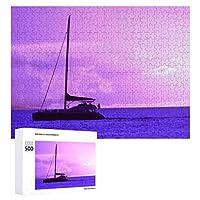 INOV マウイ ハワイ 日没(紫色) ジグソーパズル 木製パズル 500ピース 38 x 52cm 人気 パズル 大人、子供向け 教育玩具 ストレス解消 ギフト プレゼントpuzzle