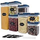 Contenitori ermetici per la conservazione degli alimenti - Set di contenitori per cereali da 7 pezzi, contenitori per dispensa da cucina in plastica senza BPA per zucchero, farina e prodotti da forno