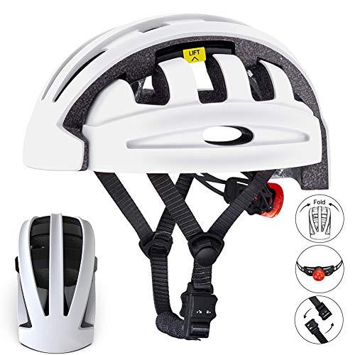 BLLJQ Casco de Bicicleta, Casco de Bicicleta Plegable con Luz LED para Protección, para Skate Bike Scooter, Especializado para Hombres Mujeres,Blanco