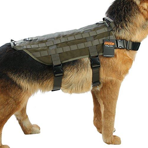 EXCELLENT ELITE SPANKER Hundegeschirr Nylon Molle Patrol Training Hundeweste Geschirr für Kleiner mittlerer und großer Hund(Olivgrün-S)