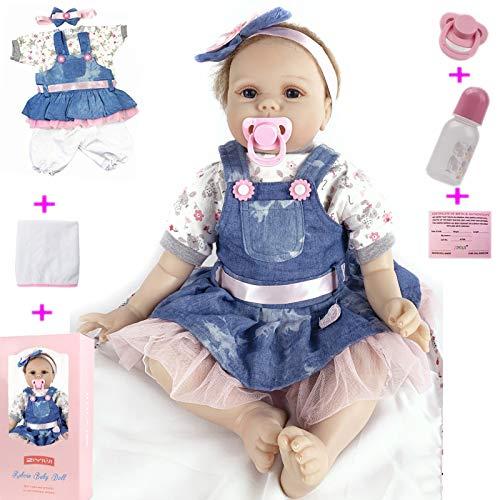 ZIYIUI 22 Pulgadas 55 cm Muñeca Reborn Hecha a Mano Realista de Silicona Muñecas Reborn Baby Girl o Boy Bebe Dolls Juguetes para niños pequeños (1)
