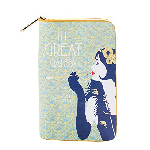 Der große Gatsby buchinspiriertes Portemonnaie mit Rundum-Reißverschluss für Literaturliebhaber von Well Read - Veganes Kunstleder Clutch Geldbörse Damen