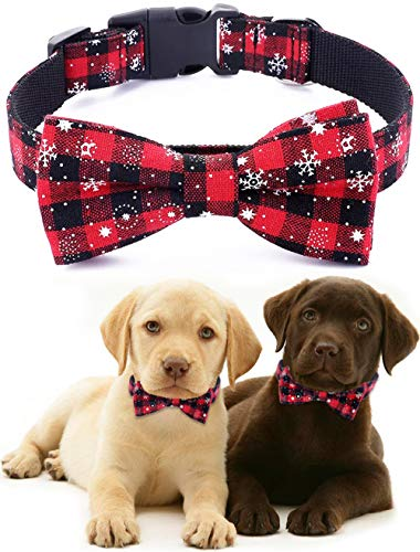 Freezx Christmas Dog Collar with Bow Tie - Adjustable 100% Cotton Nylon Design Handmade - Cute Fashion for Large Medium Small Dogs
