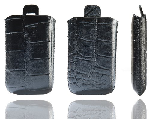 Original Suncase Tasche für / Emporia CLICK V32 / Leder Etui Handytasche Ledertasche Schutzhülle Case Hülle - Lasche mit Rückzugfunktion* In Croco-Schwarz