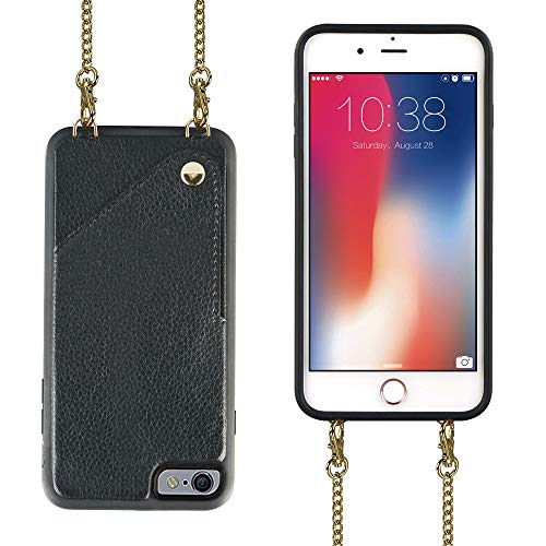 JLFCH iPhone 6 Wallet Case,iPhone 6s Wallet Case, Leather Wallet Case with Card Slot,Leather + Metal Crossbody Strap,Full Frame Protection Case for Apple iPhone 6/6s,4.7 inch,Black