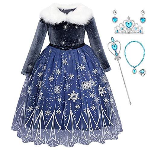 Kosplay Nias Cosplay Vestido de Princesa Elsa con Capa Vestido de Manga Larga Vestido Azul de cuello Blanco Disfraz Ceremonia de Fiesta Halloween Navidad 3-9 aos 100-140cm