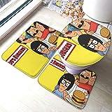 Bo_bs Burgers Comfort Collections - Juego de alfombrillas de baño para pedestal, alfombrilla de baño, alfombra de baño, antideslizante, alfombrilla de baño, 3 piezas, alfombra de baño