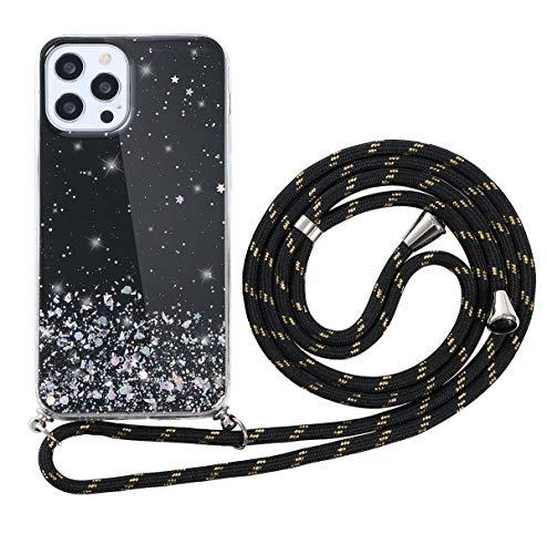 ZhuoFan Funda con Cuerda para Xiaomi Redmi Note 7 Carcasa Negro Silicona Dibujos Case con Correa Colgante Ajustable Collar Correa de Cuello Cadena Cordón para Redmi Note 7 Cuerda 6,3