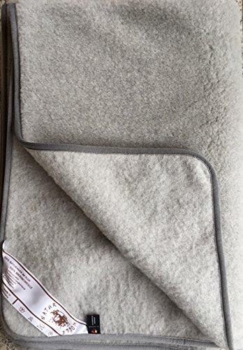 Alpenwolle Wolldecke Silber, Tagesdecke, Überwurfdecke, Sofadecke, Campingdecke, Wolle (140x100)