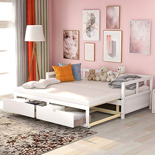 Wooden Daybed with Trundle Bed and Two Storage Drawers, Extendable Bed Daybed,Sofa Bed for Bedroom Living Room,No Box Spring Required (White)