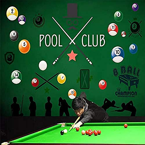 XHXI Kreative Cartoon Snooker Billard Großformatige Kunstdruck Tapeten Poster für Billard Hall Bar Ktv Wand Spezial Wanddekoration fototapete 3d Tapete effekt Vlies wandbild Schlafzimmer-200cm×140cm