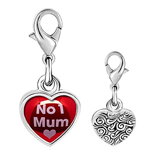 No. 1 Mum Photo Heart Lobster Clasp Link Charm for Charms Bracelet & Necklace