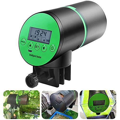OurLeeme Alimentador automático de Peces, Temporizador Recargable USB Alimentador de Peces Alimentador de Tanque de Peces de Acuario con Pantalla LCD Dispensador de Comida para Peces