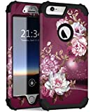Hocase iPhone 6s Plus Case, iPhone 6 Plus Case, Shockproof Heavy Duty Hard Plastic+Silicone Rubber Bumper Hybrid Protective Case for iPhone 6 Plus/6s Plus (5.5' Display) - Royal Purple Flowers