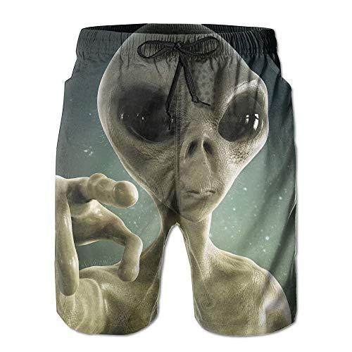 Space Alien Spacecraft UFO Schnelle Trockene Spitze Boardshort Strand Shorts Hosen Badehose Sprüche Jungen Badeanzug Mit Taschen,Größe XL